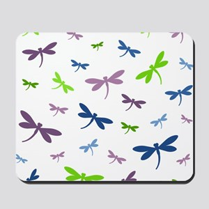 Purple, Green, and Blue Dragonflies Mousepad