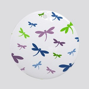 Purple, Green, and Blue Dragonflies Round Ornament