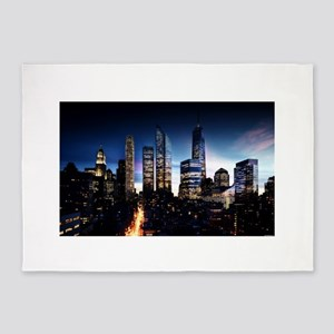City Skyline at Night 5'x7'Area Rug