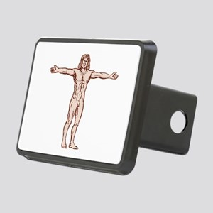 Vitruvian Man Arms Spread Front Etching Hitch Cove