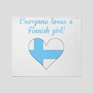 Everyone Loves A Finnish Girl Throw Blanket