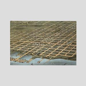 Vintage Pictorial Map of Erie Pen Rectangle Magnet