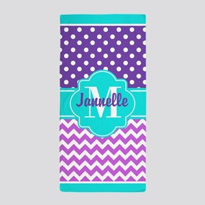 Aqua Purple Pink Chevron Polka Dots Cu Beach Towel