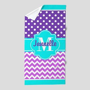 437cf1103440c Aqua Purple Pink Chevron Polka Dots Cu Beach Towel