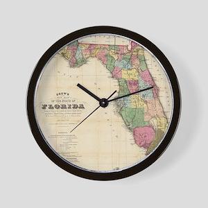 Florida wall clocks cafepress vintage map of florida 1870 wall clock ccuart Image collections