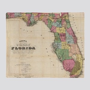 Vintage Map of Florida (1870) Throw Blanket
