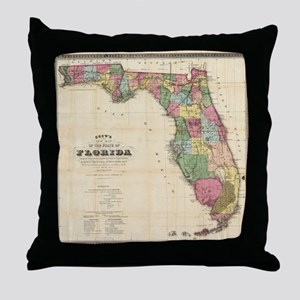 Vintage Map of Florida (1870) Throw Pillow