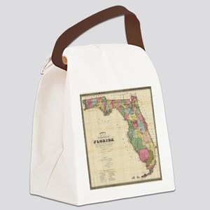 Vintage Map of Florida (1870) Canvas Lunch Bag