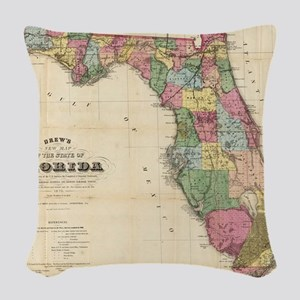 Vintage Map of Florida (1870) Woven Throw Pillow