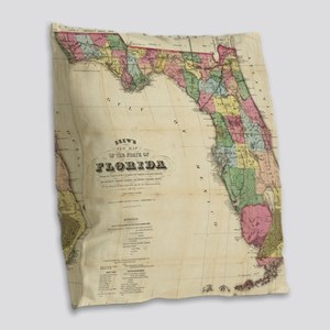 Vintage Map of Florida (1870) Burlap Throw Pillow