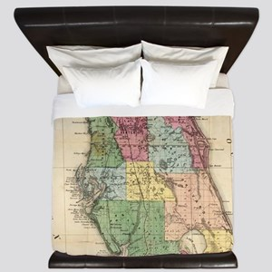 Vintage Map of Florida (1870) King Duvet