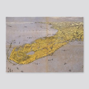 Vintage Pictorial Map of Florida (1 5'x7'Area Rug