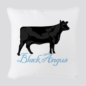 Black Angus Woven Throw Pillow