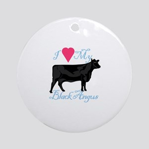 I Love My Black Angus Ornament (Round)