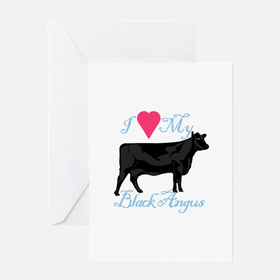 I Love My Black Angus Greeting Cards