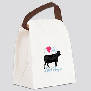 I Love My Black Angus Canvas Lunch Bag