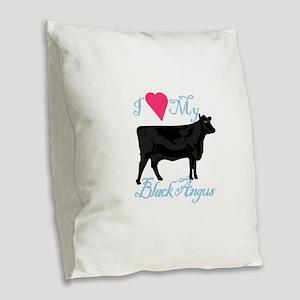 I Love My Black Angus Burlap Throw Pillow