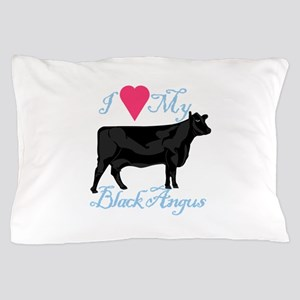 I Love My Black Angus Pillow Case