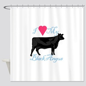 I Love My Black Angus Shower Curtain