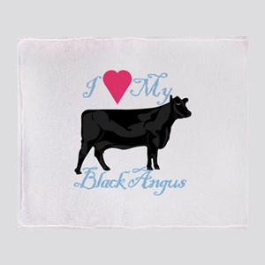 I Love My Black Angus Throw Blanket