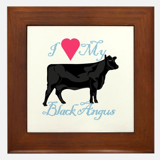 I Love My Black Angus Framed Tile