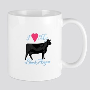 I Love My Black Angus Mugs