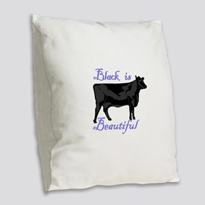 Black Is Beautiful Burlap Throw Pillow