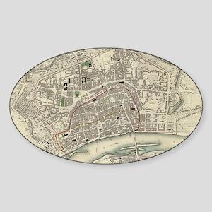 Vintage Map of Frankfurt Germany (1 Sticker (Oval)