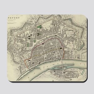 Vintage Map of Frankfurt Germany (1837) Mousepad