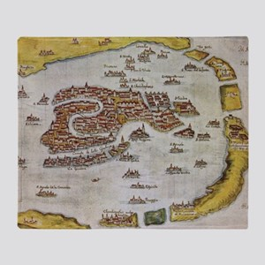 Vintage Map of Venice (1649)  Throw Blanket