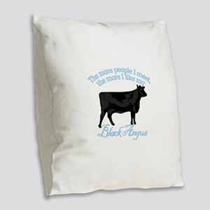 Black Angus Burlap Throw Pillow