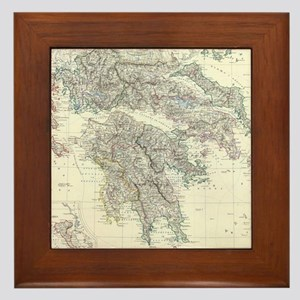 Vintage Map of Greece (1861) Framed Tile