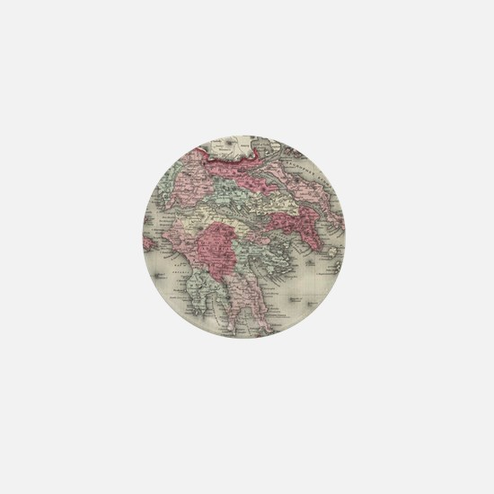 Vintage Map of Greece (1865) Mini Button