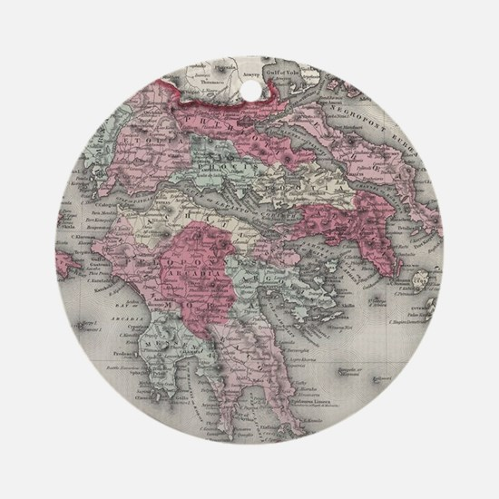 Vintage Map of Greece (1865) Round Ornament