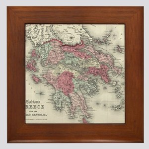 Vintage Map of Greece (1865) Framed Tile