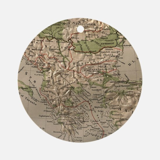 Vintage Physical Map of Greece (188 Round Ornament