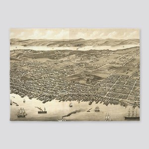 Vintage Pictorial Map of Halifax (1 5'x7'Area Rug