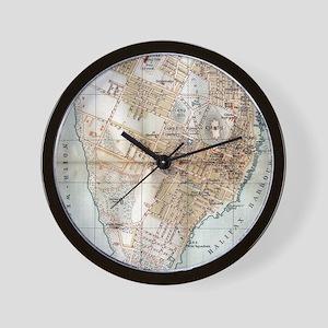 Vintage Map of Halifax Nova Scotia (189 Wall Clock