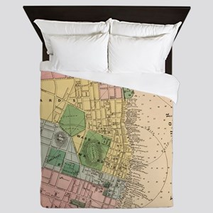 Vintage Map of Halifax Nova Scotia (18 Queen Duvet