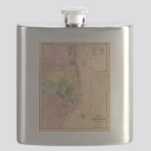 Vintage Map of Halifax Nova Scotia (1878) Flask