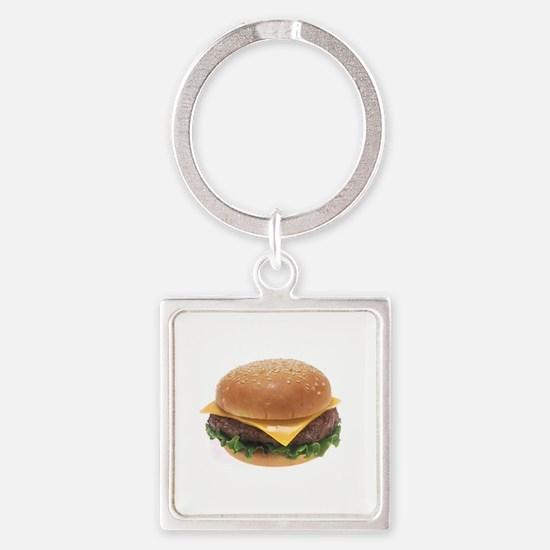 Cheeseburger Square Keychain