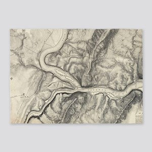 Vintage Map of Harpers Ferry (1863) 5'x7'Area Rug
