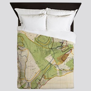 Vintage Map of Hawaii Island (1906) Queen Duvet