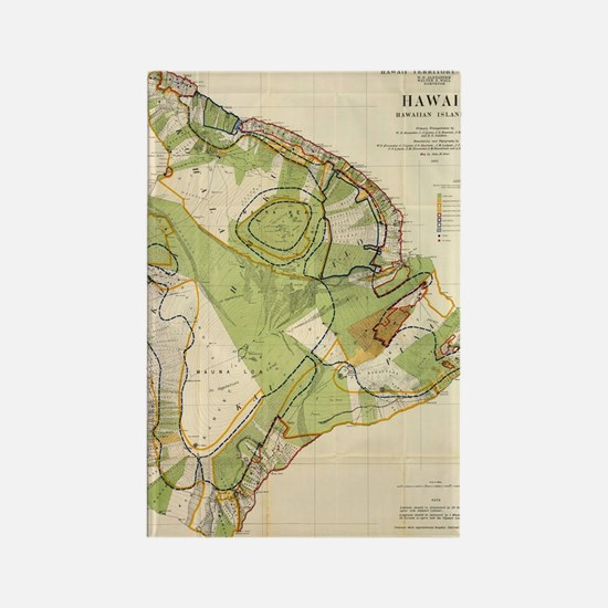 Vintage Map of Hawaii Island (190 Rectangle Magnet