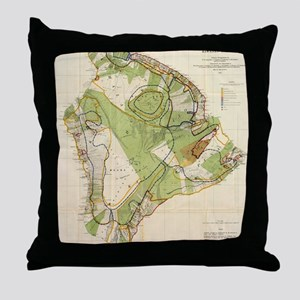 Vintage Map of Hawaii Island (1906) Throw Pillow