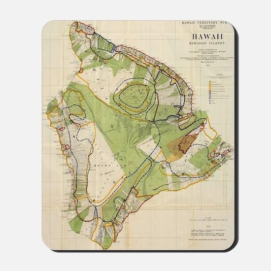 Vintage Map of Hawaii Island (1906) Mousepad