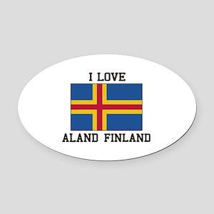 i Love Aland, Finland Oval Car Magnet