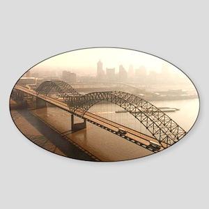 Hernando de Soto Bridge in Memphis Sticker (Oval)