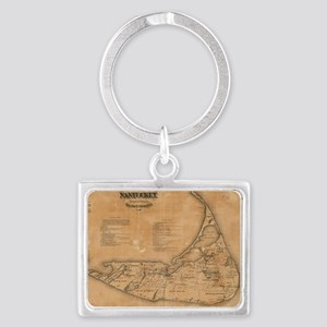 Vintage Map of Nantucket (1869) Landscape Keychain