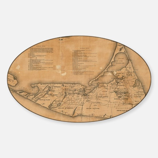 Vintage Map of Nantucket (1869) Sticker (Oval)